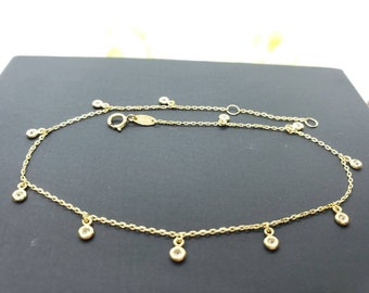 """10K Real Yellow Gold • Dainty Bezel Round Charm Ankle Bracelet Anklet •  9 +1 """" Inches •"""