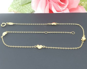 """10K Real Yellow Gold • 4 Heart Charm High Quality Ankle Bracelet Anklet •  9 +1 """" Inches •"""