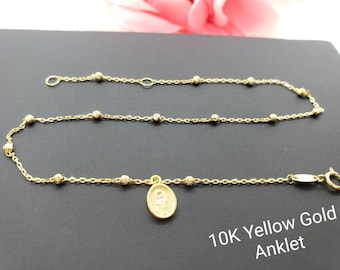 """Anklet 10K Real Yellow Gold • Virgin Mary Guadalupe Charm High Quality  Ankle Bracelet Anklet •  9 +1 """" Inches •"""
