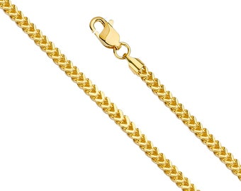 """1.70mm  Real 14K Gold Hollow Franco Chain  3 colors Available  Mens Women 16 """" -24 """""""