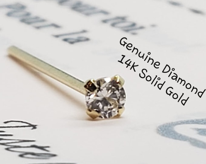 Diamond Nose Stud , S1 Color GHI,  14K Solid Gold in Straight Ends  , 20 GA , Real Genuine Natural Diamond , Body Jewelry