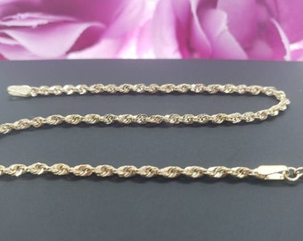 """14K Real Yellow Gold  2.00 mm Hollow Rope Chain Length   7"""" 7.5"""" 8"""" 8.5""""  Women's"""