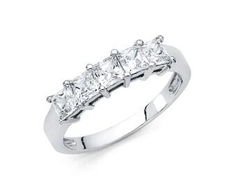 14K Solid Gold Square Princess Cut Channel Set Half Eternity Anniversary Wedding Ring Band, Graduation/Bridesmaids/Birthday/Wedding/Shower ,