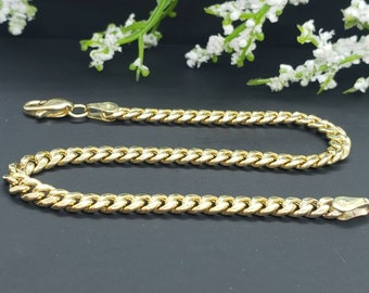 """14K Real Yellow Gold Miami Cuban Link Yellow Gold 3.70 mm 4.50 mm Chain Bracelet 7.5 Inches """""""