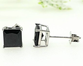 3mm-10mm Princess Cut Square Black Onyx CZ's Solid 925 Sterling Silver Stud Post Earrings Round Mens Womens Earrings