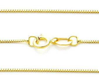 """0.50  0.80mm  1.00mm  1.20mm  Real 14K Solid Gold Box Chain  3 colors Available  Mens Women 16 """" -24 """""""