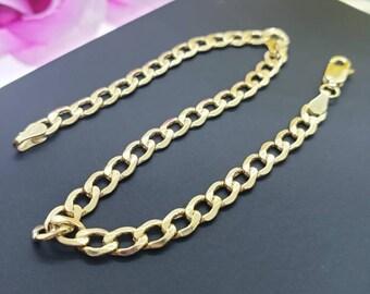 "14K Real Yellow Gold 4.00 mm Cuban Chain Length 7"" 7.5"" 8 8.5 9"" Bracelet , Necklace Women's Men's"