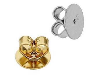 14K Real Gold Heart Shape Earring Push Backing Friction Ear nuts  3 sizes are available