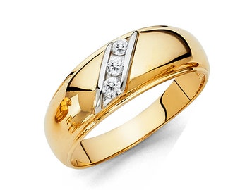 0.75 Ct Created Diamond  14K Solid Gold Mens Wedding Ring Solitaire Round Cut  Engagement Bands