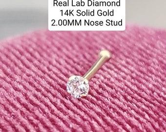 "Genuine LAB DIAMOND 14K Solid Real Gold , LAB Diamond Nose Stud, Bone Ball End Nose Stud 20GA"" 1.00 mm -3.00 mm"