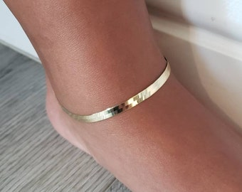 """Real 14K Solid Yellow Gold 3.00 4.00 5.00 MM Herringbone Anklet 10"""" Inches"""