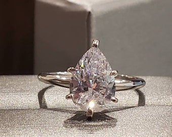 1.00-3.00 CTW. 14K Solid Gold Ring • Moissanite OR Simulated Diamond • Tear Drop Cut Pear Shape Engagement Rings • Fine Jewelry •