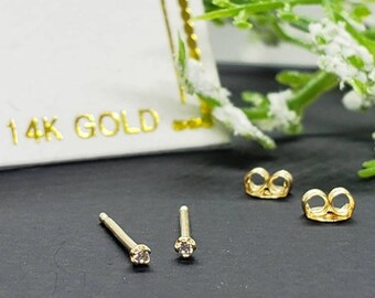 14K Solid Gold , 1.00 mm - 2.00 mm Teeny Tiny dainty Small minimalist Tragus cartilage ear lobes earrings studs