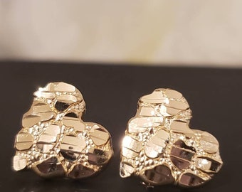 10K Solid Gold •  NUGGET Heart Earrings Diamond Cut • Push Backing • 3 Sizes Available •