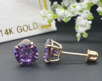 Natural Amethyst Stud Earrings  925 Sterling Silver Studs w Backings  Gemstone Studs  February Birthstone  Dainty Posts Gift Idea ST59