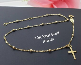 """Anklet 10K Real Yellow Gold • Dainty Ball with Cross Charm High Quality  Ankle Bracelet Anklet •  9 +1 """" Inches •"""