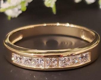 1.25 Ct Created Diamond  14K Solid Gold Mens Wedding Ring Princess Cut  Engagement Bands