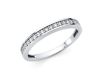 14K Solid Gold Round Solitaire Set Half Eternity Anniversary Wedding Ring Band, Graduation/Bridesmaids/Birthday/Wedding/Shower ,