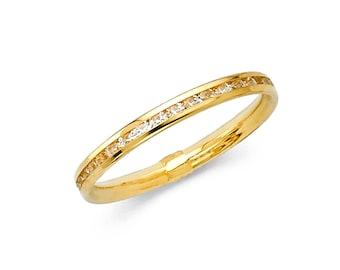 14K Solid Gold Round Channel Set Eternity Endless Anniversary Wedding Ring Band, Graduation/Bridesmaids/Birthday/Wedding/Shower ,