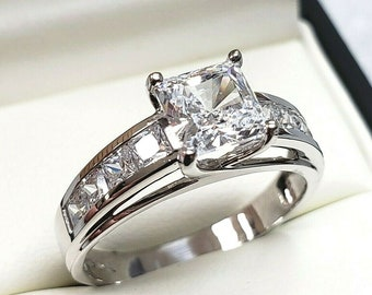 2.50 Ct 14K Real Solid Gold Fancy Trellis Square Princess Cut Engagement Ring