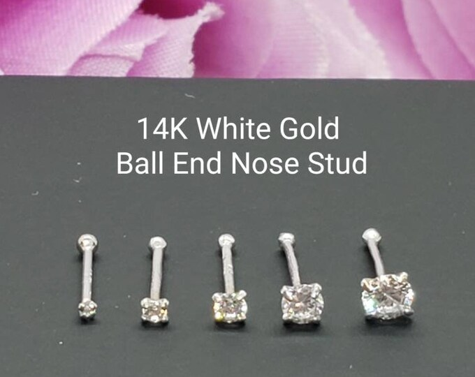 14K Solid White Gold , Ball Ends Nose Stud, Diamond Nose Stud,  Nostril Piercing 1.00 mm - 3.00 mm