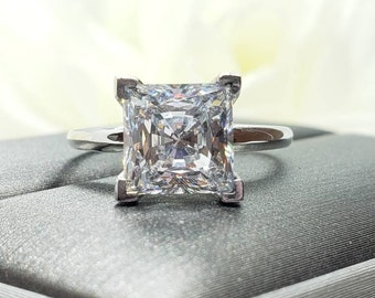 1.00-3.00 CTW. 14K Solid Gold Ring Simulated Diamond Brilliant Cut Princess Cut  Engagement Rings Fine Jewelry