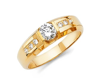 1.50 Ct Created Diamond  14K Solid Gold Mens Wedding Ring Solitaire Round Cut  Engagement Bands