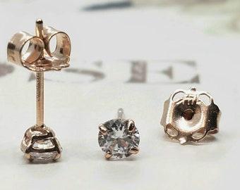 Dainty Genuine Real Natural Diamond • 2.00 mm 2.50 mm 3.00 mm • Push Back • Tragus , Cartiladge ,Ear Lobes ,Baby, Kids Earrings •