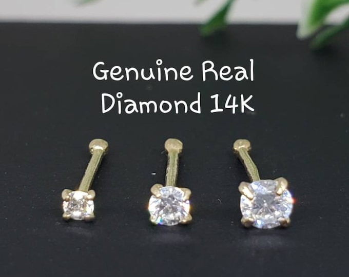 Diamond Nose Stud , S1 Color GHI,  14K Solid Gold in Ball Ends  , 20 GA , Real Genuine Natural Diamond , Body Jewelry