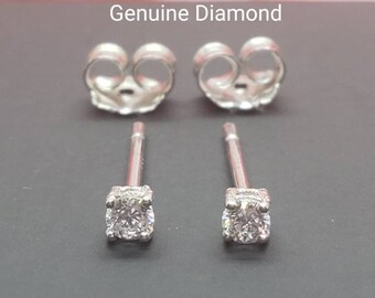 Genuine Real Natural Diamond • 0.20 ctw  0.30 ctw 0.40ctw  •Push  Back • Solid 14K GOLD •  Tragus ,Cartilage ,Baby, Kids Earrings •
