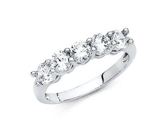 14K Solid Gold 5 Round Solitaire Set Half Eternity Anniversary Wedding Ring Band, Graduation/Bridesmaids/Birthday/Wedding/Shower ,