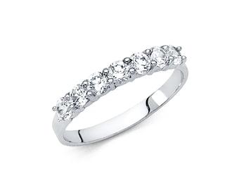 14K Solid Gold 7 Round Solitaire Set Half Eternity Anniversary Wedding Ring Band, Graduation/Bridesmaids/Birthday/Wedding/Shower ,