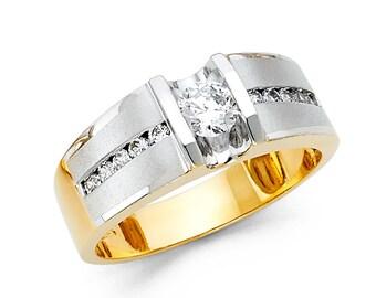 1.75 Ct Created Diamond  14K Solid Gold Mens Wedding Ring Princess Cut  Engagement Bands