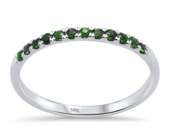 14K White Gold Natural Gemstone Wedding Band Anniversary Stackable Ring .22ct F SI