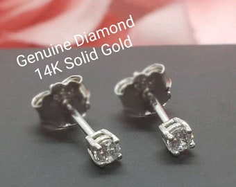 Dainty Genuine Real Natural Diamond • 0.10 ctw  0.15 ctw 0.20 ctw  •Push  Back • Solid 14K GOLD •  Tragus ,Cartiladge ,Baby, Kids Earrings •