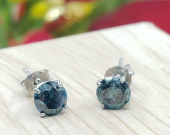 Genuine Real Natural Blue Diamond • 3.00 mm 4.00 mm • Screw Back / Push Back •  Solid 14K GOLD •  Tragus ,Cartilage ,Baby, Kids Earrings •