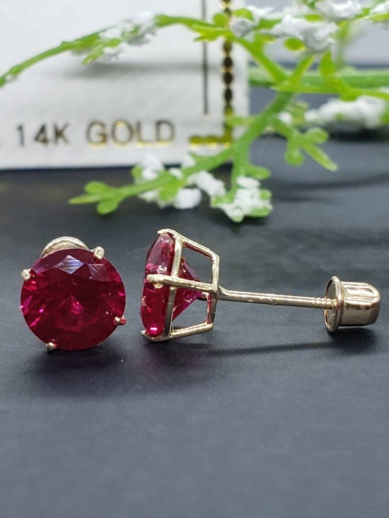 14K solid Yellow Gold Ruby Earring July Birthstone Colors Push Backing Earring with 4 Prong Setting