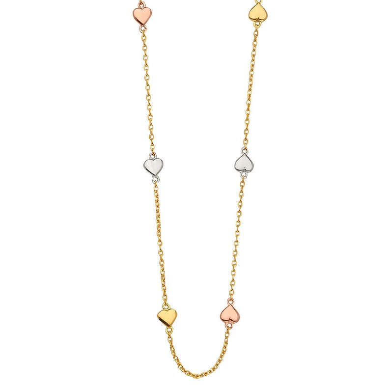 14K Solid Gold 3 tone Color Chain Bracelet with Dainty  Heart 7.25 Or Necklace  17 For Women/'s Girls Bracelet