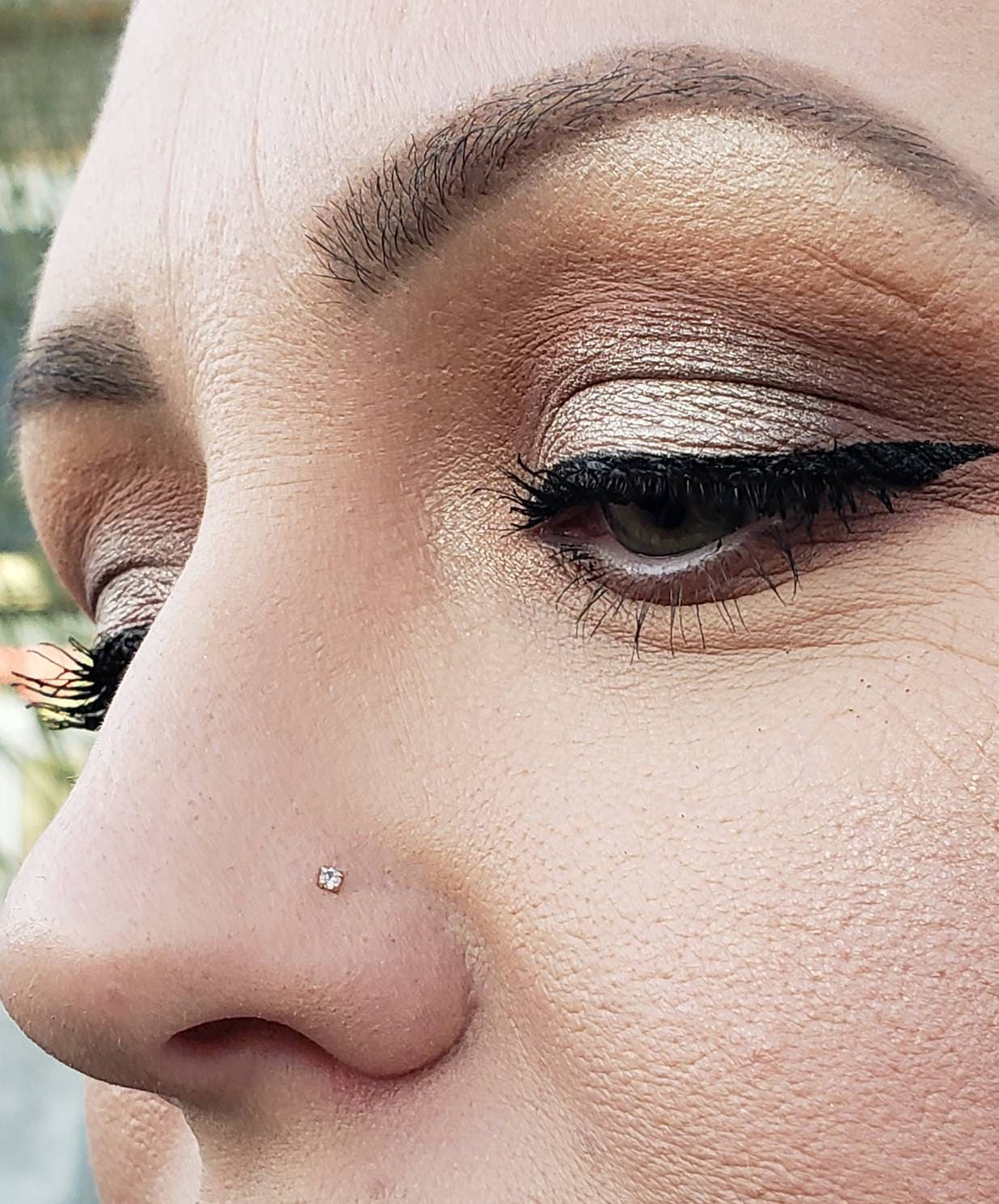 L Shape Bendable Nostril Piercing Diamond Nose Stud 14K Solid Gold Straight Bar Nose Stud
