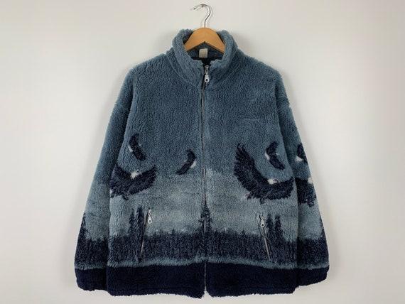 Vintage Eagles Printed Fleece Jacket Made in UK Si