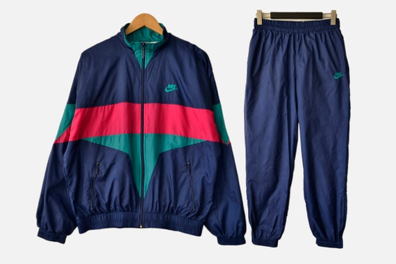 Vintage 90s Nike Tracksuit Set Jacket Pants Windb… - image 1