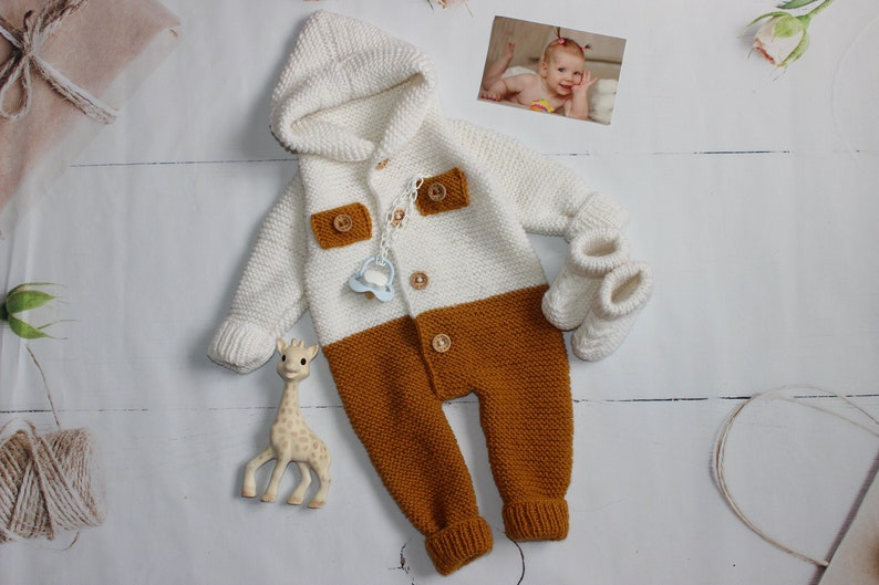 Baby boy coming home outfit Mustard baby Wool romper