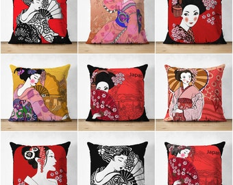 TILDA KIMONO GIRL Pillow Cover Pieced And Quilted With Tilda Fabrics Asian Inspired Design Free UsA Shipping