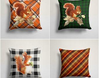 Squirrel Pillow Case Plaid Cushion Cover Checkered Squirrel Pillow Cover Housewarming Squirrel Decor Farmhouse Style Buffalo Check Pillow