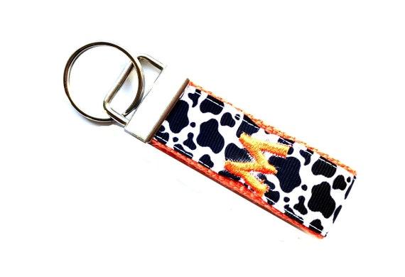 Cow Print Key Fob Keychain