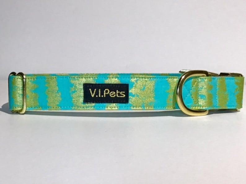 Green Teal with Gold Metallic Fabric Stripes Dog Collar