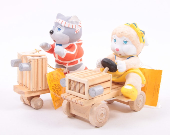 Vintage Get Along Gang Ceramic Figures Riding Train Cars with Tag Tabletop - 20-01-151 Decor Woolma Lamb