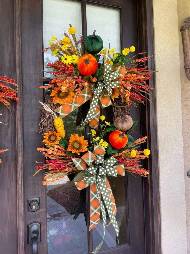 EXTRA LARGE Fall Grapevine Wreath for Front Door All Season image 0