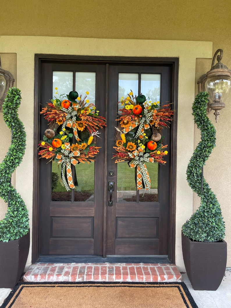 EXTRA LARGE Fall Grapevine Wreath for Front Door All Season image 9