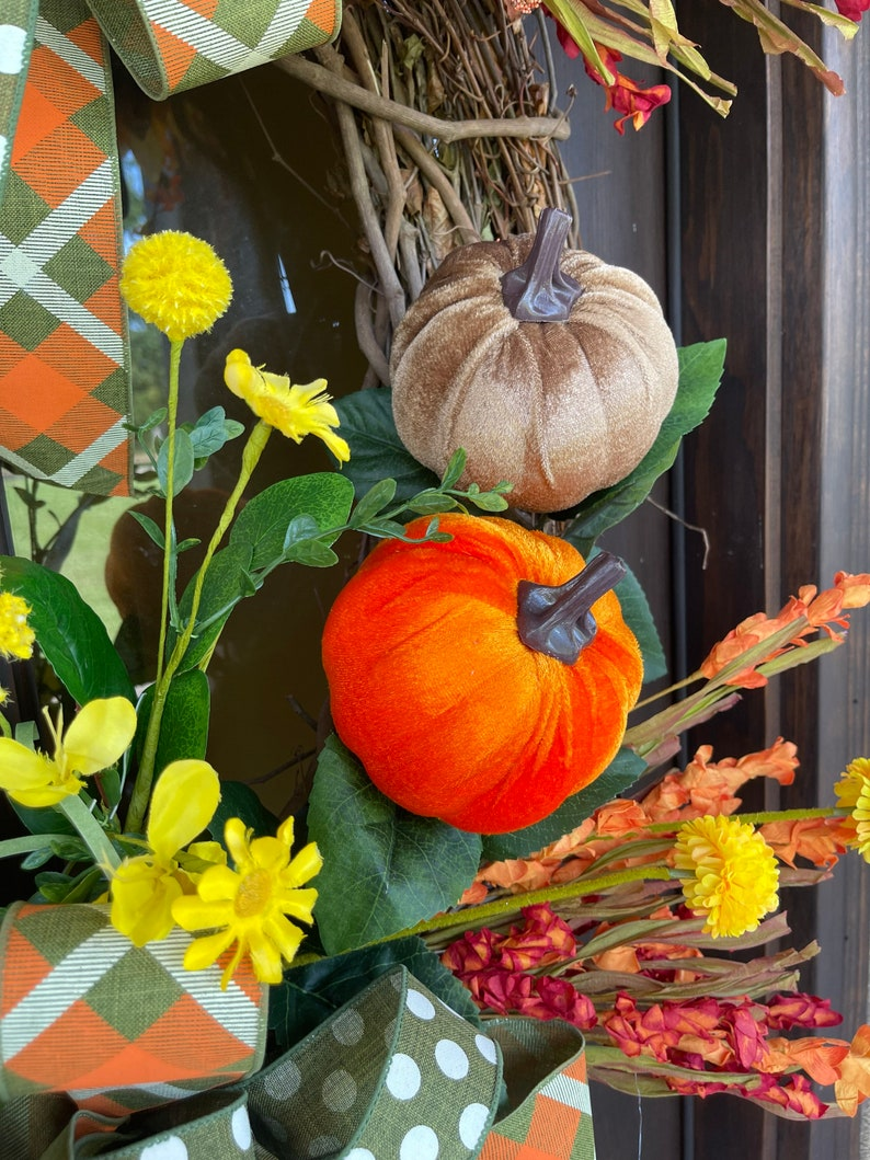 EXTRA LARGE Fall Grapevine Wreath for Front Door All Season image 4
